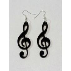 Coppia orecchini in plex forma chiave di violino vari colori